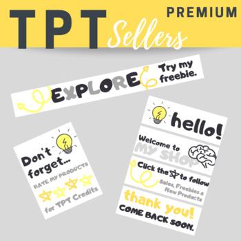 TPT PREMIUM Animated Banner Set FLASH BULB Theme {Quote Box, Banner & Side Bar}