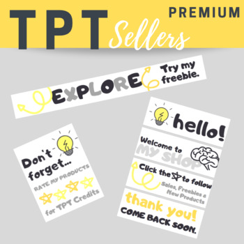 TPT Animated Banner Set FLASH BULB BRAIN {Quote Box, Banner & Side Bar}