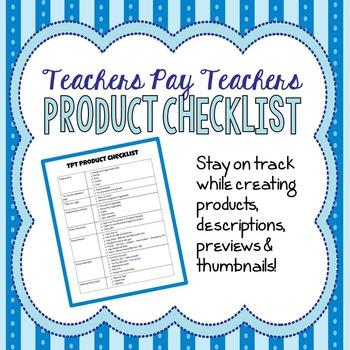 TPT Product Checklist