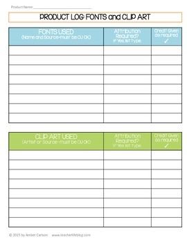 TPT Product Development Planner and Log