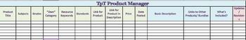 TPT Product Manager & Goal Setting Spreadsheet