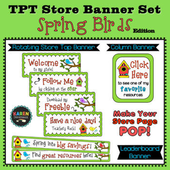 TPT Rotating Store Banner Set - SPRING BIRDS