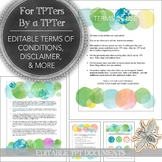 TPT Sellers: Editable Terms of Use, Disclaimer, Download Form, & Social Media