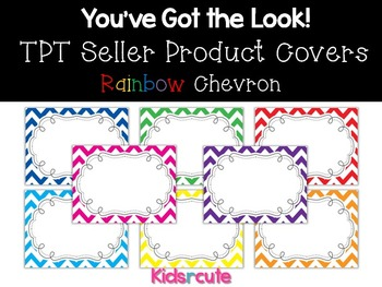 TPT Sellers Product Covers~ Rainbow Chevron with Frame {Kidsrcute}