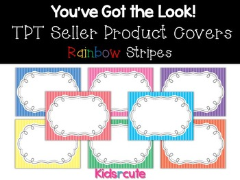 TPT Sellers Product Covers~ Rainbow Stripes with Frame {Kidsrcute}