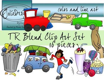 TR Blend Phonics Clip Art Set - Color and Line Art 16 pc set