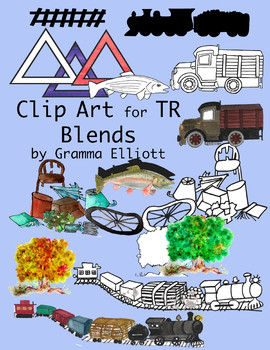 TR Blends Realistic Color and BW Phonics Clip Art