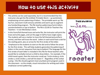 Fine Motor: TRACE AND WRITE!  Fall and Farm Animal Themed!  Skills Centers