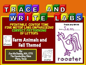 Fine Motor: TRACE AND WRITE!  Fall and Farm Animal Themed!