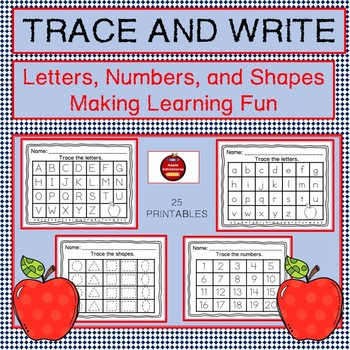 trace and write letters numbers and shapes