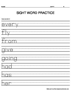 TRACE & WRITE First Grade (1st) Sight Words