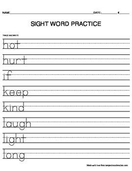 TRACE & WRITE Third Grade (3rd) Sight Words