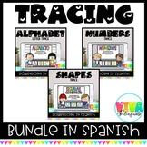 Traza letras, números y figuras geométricas | Spanish Tracing Powerpoint Bundle