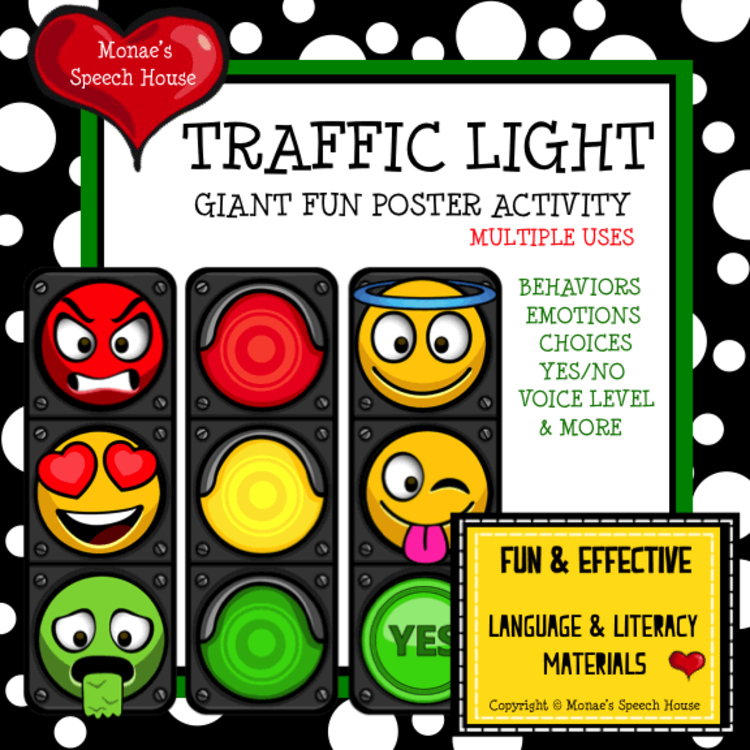 Traffic Light Poster Pre K Autism Behaviors Emotions By