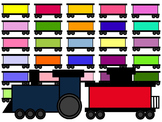 TRAIN CLIP ART * COLOR AND BLACK AND WHITE