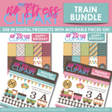 TRAIN Clipart Plus Digital Papers BUNDLE