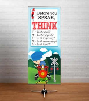 TRAIN theme - Classroom Decor: LARGE BANNER, Before You Speak