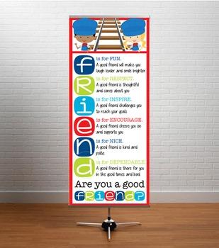 TRAIN theme - Classroom Decor: LARGE BANNER, FRIENDS