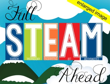 TRAIN theme - Classroom Decor: LARGE BANNER, Full STEAM Ahead