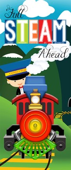 TRAIN theme - Classroom Decor: LARGE BANNER, Full STEAM Ahead