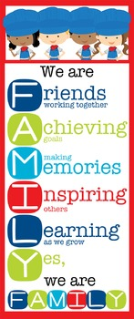 TRAIN theme - Classroom Decor: LARGE BANNER, We Are FAMILY