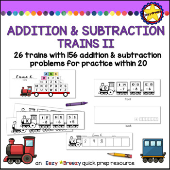 TRAINS II addition and subtraction within 20 cards