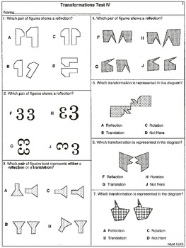 Transformations: Task Cards and 5 tests (worksheets)