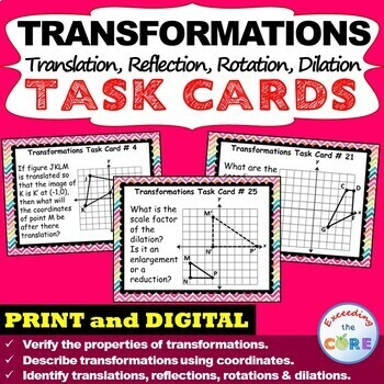 TRANSFORMATIONS Translate, Reflect, Rotate, Dilate - Task Cards {40 Cards}