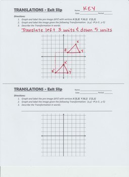 TRANSFORMATIONS - Translations Notes & Assessment