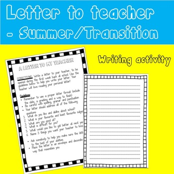 TRANSITION DAY / SUMMER HOMEWORK writing activity