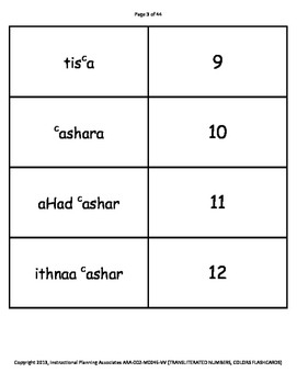 TRANSLITERATED NUMBERS FLASHCARDS (ARABIC-HINDI)