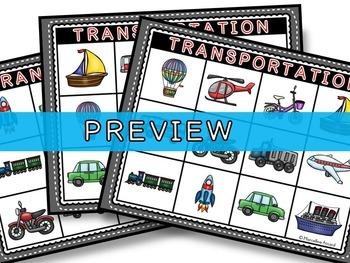 TRANSPORTATION GAME: TRANSPORTATION BINGO: TRANSPORTATION ACTIVITIES