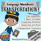 TRANSPORTATION, Boom Cards Speech Therapy, Basic Concepts, Homework