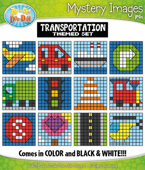 TRANSPORTATION Create Your Own Mystery Images Clipart Set