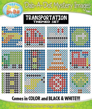 TRANSPORTATION Dab-A-Dot Mystery Images Clipart {Zip-A-Dee-Doo-Dah Designs}