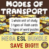 Modes of Transport Unit, Flash Cards and Word Puzzle MEGA BUNDLE for ESL/ELL