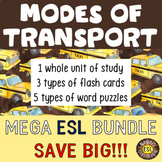Transportation Unit, Flash Cards and Word Puzzles MEGA ESL BUNDLE
