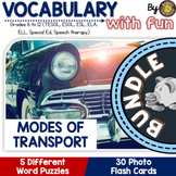 Modes of Transport 5 Word Puzzle and 30 Photo Flash Cards BUNDLE