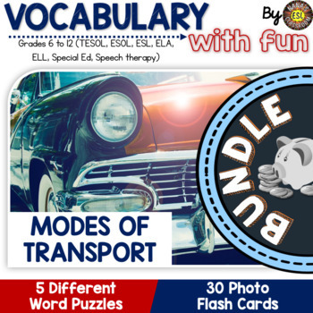 Modes of Transport 5 Word Puzzle and 30 Photo Flash Cards BUNDLE for ESL/ELL