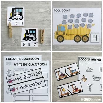 TRANSPORTATION Literacy & Math Centers (Preschool, PreK, Kindergarten)