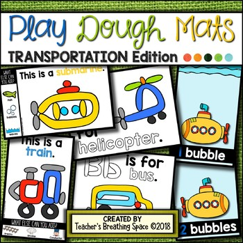 TRANSPORTATION Play Dough Mats --- 22 Picture Mats and 10 Counting Mats 1-10