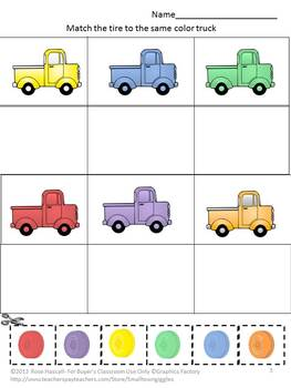 Transportation Math and Literacy Centers Cut and Paste Kindergarten,Special Ed