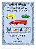 Transportation Math and Literacy, Kindergarten Cut and Paste Activities
