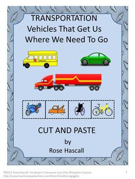 Transportation Thematic Unit Kindergarten Math & Literacy