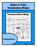 TRANSPORTATION Vocabulary BINGO Make & Take, SPEECH THERAPY Distance Learning