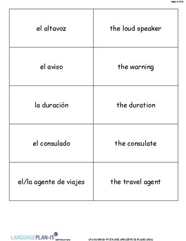 TRAVEL AND SERVICES FLASHCARDS (SPANISH)