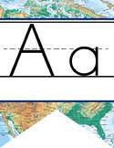 TRAVEL - Alphabet Flag Banner, handwriting, A to Z, ABC print font