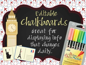 TRAVEL - Classroom Decor: editable chalkboard  POSTERS / Bistro Chalk Markers
