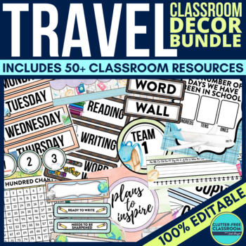 Travel theme classroom decor editable by clutter free for Free travel posters for teachers