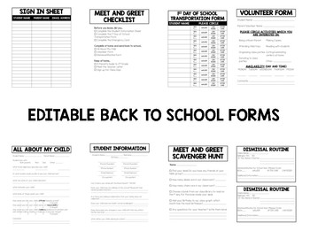 TRAVEL Editable Meet the Teacher Bundle with Back to School Forms